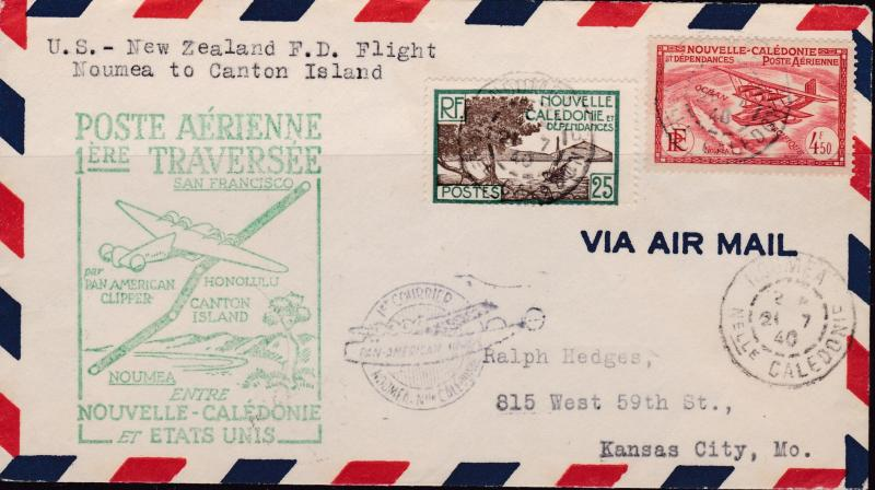 France 1940 First Flight Cover F19-8a. Noumea, New Caledonia to Canton Island