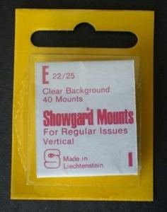 Showgard Stamp Mounts E 22 / 25 mm CLEAR Background Package of 40