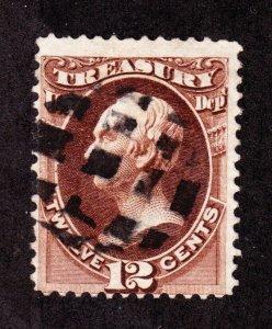 US O78 12c Treasury Department Used w/ Lattice Fancy Cancel