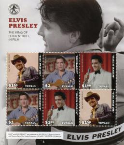 Tuvalu Music Stamps 2018 MNH Elvis Presley in Film Movies Celebrities 6v M/S