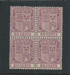 MAURITIUS 1921-26 20c PURPLE BLOCK OF FOUR MNH SG 221 CAT £34