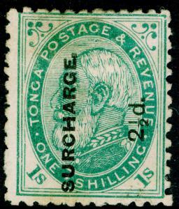 TONGA SG24, 2½d on 1s deep green, UNUSED. Cat £65.