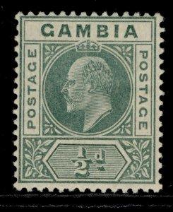 GAMBIA EDVII SG72, ½d blue-green, M MINT. Cat £15.