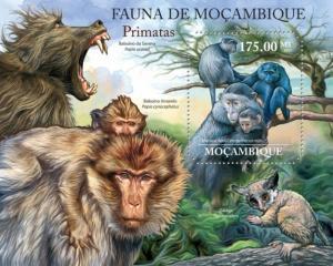Mozambique MNH S/S Primates Monkeys Wildlife 2011