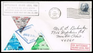 Rattlesnake Island Local Post Triangle Stamps 1967 FDC