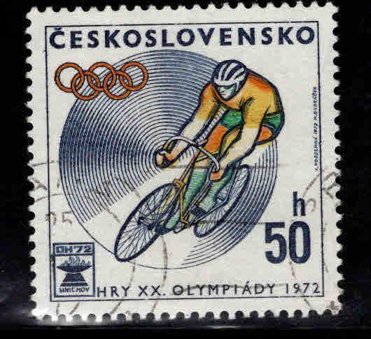 Czechoslovakia Scott 1813 Used CTO Olympic Cyclist stamps
