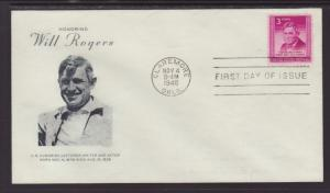 US 975 Will Rogers Grimsland Pencil FDC