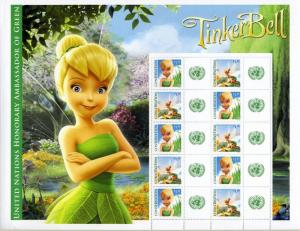 UNITED NATIONS TINKER BELL PERSONALIZED SHEET OF 10 STAMPS 10 CONTIGUOUS LABELS