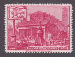 Vatican City 128 MNH OG 1949 25L Carmine Rose St. Lawrence Issue Very Fine