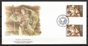1985 Great Britain 1115 Arthur and Merlin gutter pair FDC