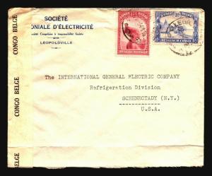 Belgian Congo 1941 Censor Cover to USA / Congo Censor / Bottom Fold - Z14358