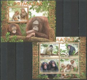 BC524 2012 GUINEA-BISSAU FAUNA WILD ANIMALS PRIMATES MONKEYS PRIMATAS BL+KB MNH