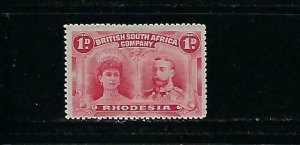 RHODESIA SCOTT #102  1910 DOUBLE HEADS- 1P (ROSE CARMINE)  MINT HINGED