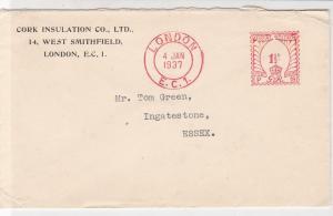 England 1937 Cork Insulation Co Ltd London EC1 Cancel Meter Mail Cover Ref 31830