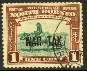 NORTH BORNEO 1941 KGVI 1c BUFFALO TRANSPORT WAR TAX STAMP Sc MR1 VFU