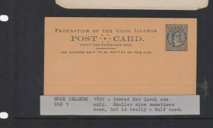 COOK ISLANDS LOCAL USE POSTAL STATIONARY 1D UNUSUED