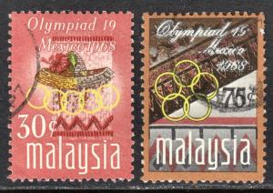 Malaysia Scott 56-57  complete set  F to VF used.
