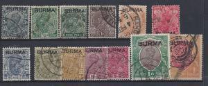Burma, 1//14 (13v), India Overprinted Singles,**Used**