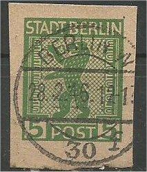 BERLIN, 1945, used 5pf Berlin Bear Scott 11N1 Stationary