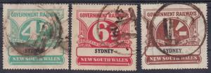 NEW SOUTH WALES 1929 RAILWAY PARCELS STAMPS 4D 6D AND 1/- SYDNEY USED