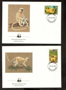1984 BHUTAN -  WORLD WILDLIFE FUND - GOLDEN LANGUR - APE 4 X FIRST DAY COVERS