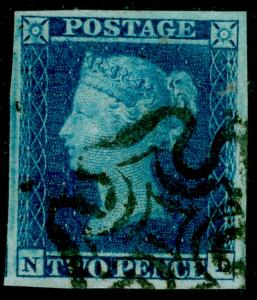 SG14, 2d blue, VERY FINE USED. Cat £275. BLACK MX. 4 MARGINS. ND