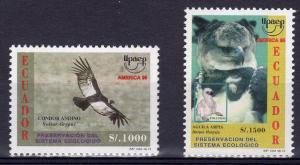 Ecuador 1996 AMERICA UPAEP'95 EAGLES set 2 values Perforated Mint (NH)