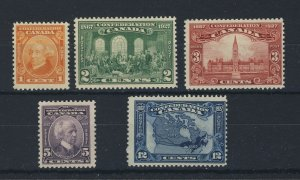 5x Canada MH Confederation Stamps #141-1c to #145-12c Map Guide Value = $34.00