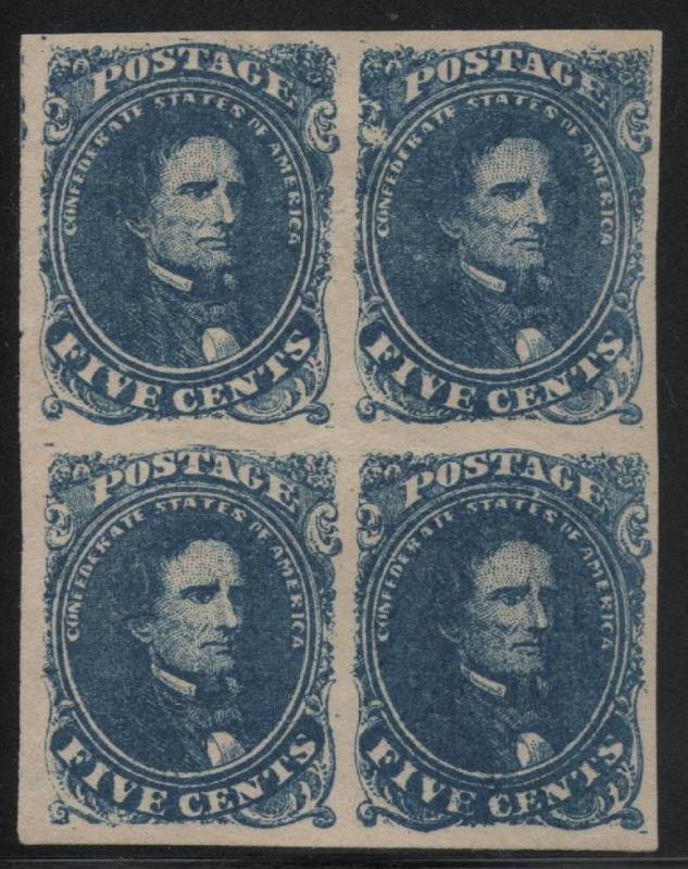 ~ CSA Scott #4 Block of 4 Mint OG Confederate Stamps, Beauty 2 Are NH ~