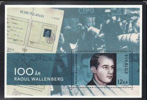 Sweden 2012 Minisheet -MNH - Raoul Wallenberg Birth Centenary