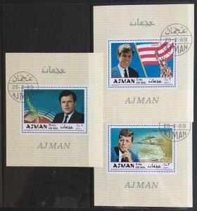 UAE Ajman 1969 Kennedy Brothers John, Robert & Edward Used Souvenir Sheets