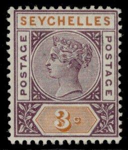 SEYCHELLES QV SG22, 3c dull purple & orange, M MINT.