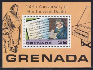 Grenada 1978 Sc 872 Composer Beethoven Death 150 Year Anniversary Stamp SS MH