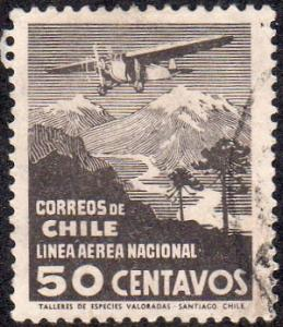 Chile C26 - Used - 50c Airplane Crossing Andes (1931)
