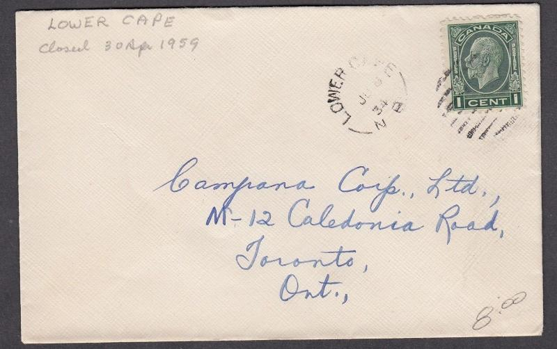 NEW BRUNSWICK SPLIT RING TOWN CANCEL COVER LOWER CAPE