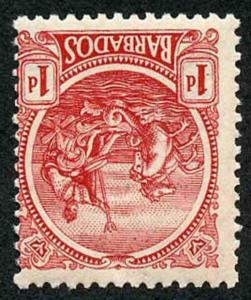 Barbados SG220aw 1921 1d Red Watermark INVERTED U/M