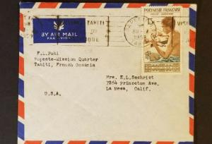 1959 Papeeti Tahiti to La Mesa California Missionary USA  Air Mail Cover
