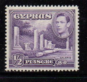 Cyprus Sc 157 1951 1/2 pi G VI & Salamis stamp mint