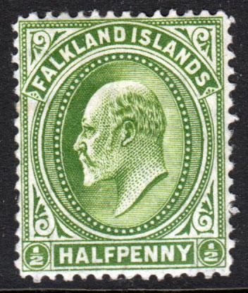 Falkland Islands KEVII 1904 0.5d Yellow-Green SG43 Mint Hinged