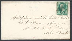 New York & Baltimore 3c Green, #184 flts, Railroad, Route...