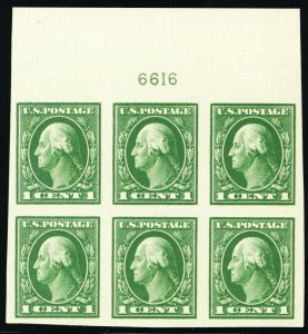 408, Mint NH XF 1¢ TOP Plate Block of Six Stamps - Stuart Katz