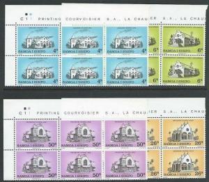 SAMOA 1969 Christmas Churches set plate blocks of 6 MNH....................51934