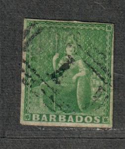 Barbados Sc#5 Used/F-VF, 4 Margins, Cv. $230
