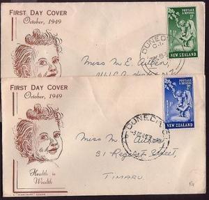 NEW ZEALAND 1949 Health set on 2 commem FDCs - Handcraft.............30705