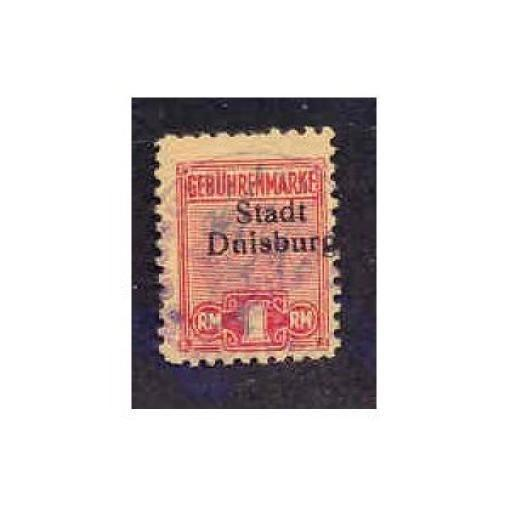 Germany - Duisberg 1 RM Municipal Revenue Stamp (#1)