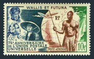 Wallis & Futuna C10,hinged.Michel 176. UPU-75,1949.French Colonials,Plane,Globe.