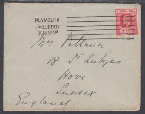 Sierra Leone Sc 91 on 1910 Paquebot Cover to Sussex, England