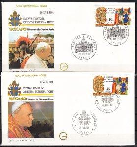 Vatican City, 16 & 27/FEB/81 cancels. Pope John Paul II, Orient visit. 2 F.D.C.