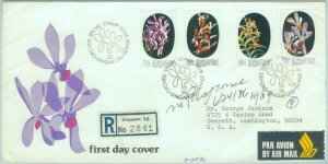 84444 -  SINGAPORE  - Postal History - FDC COVER  1976 - FLOWERS Orchids