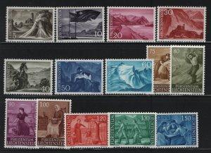 LIECHTENSTEIN 336-349 (14) Set, Hinged, 1959-64 Harvest and the Land